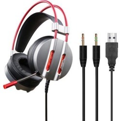 V3 LED Light Headphone Mic Surround Sound Noise Reduction Headset 3.5MM PC Gaming Headset with USB Plug with 2.2m Cable
