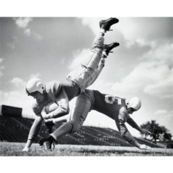 Posterazzi SAL2555420 Side Profile of Two Players Playing Football Poster Print - 18 x 24 in.