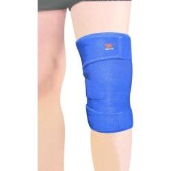 Adjustable Granule Anti Skid Knee Support Brace w Hook-and-Loop fastener Straps Blue
