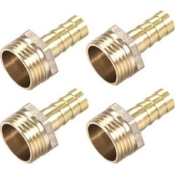 Brass Barb Hose Fitting Connector Adapter 10mm Barbed x G1/2 Male Pipe 4pcs