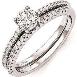 Sterling Silver & CZ Brilliant Embers 2 Piece Wedding Ring Set