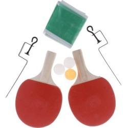 Table Tennis Ping Pong Racket Bat Balls Net Set 1 Yellow Ball+2 White Balls