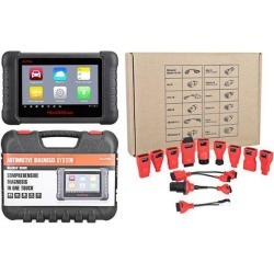 Autel Maxidas DS808 Full Set with Full Kit OBDI Adapters/Connectors (Advanced Version DS708) Automotive OBD2 Scanner Diagnostic Tool with Key.