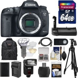 Canon EOS 7D Mark II GPS Digital SLR Camera Body with 64GB Card + Battery & Charger + Backpack + Grip + Flash + Tripod + Kit