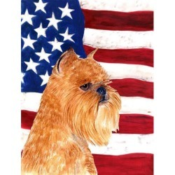 Carolines Treasures SS4020GF 11 x 15 in. USA American Flag with Brussels Griffon Garden Size Flag