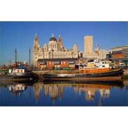 Liver Building and Tug Boats from Albert Dock, Liverpool, Merseyside, England Print by Paul Thompson