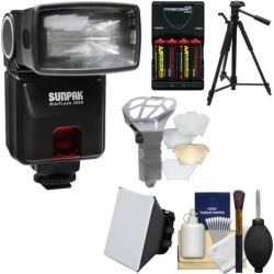Sunpak DigiFlash 3000 Electronic Flash Unit (for Canon EOS E-TTL II) with Batteries & Charger + Tripod + Soft Box + Diffuser Bouncer + Kit