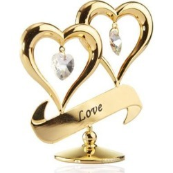 New Matashi CT3230LV 24K Gold Plated Love Double Heart Ornament Made with Genuine Matashi Crystals