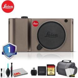 Leica TL Mirrorless Digital Camera (Titanium) RENEWED - Bundle with 32 GB Memory card + LCD Screen Protectors + SD Card USB Reader and MORE