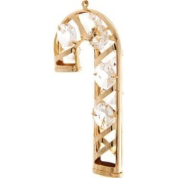 New Matashi CT0138 24K Gold Plated Candy Cane Ornament Made with Genuine Matashi Crystals