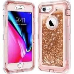 HYBRID GLITTER CASE FOR iPHONE 8 - ROSE GOLD