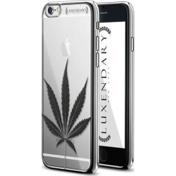LUXENDARY BLACK CANNABIS LEAF DESIGN CHROME SERIES CASE FOR IPHONE 6/6S PLUS