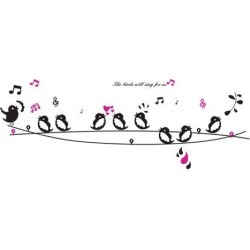 Unique Bargains Living Room Detailing DIY Mural Birds Music Note Wall Sticker Decal Black found on Bargain Bro Philippines from Newegg Canada for $9.87