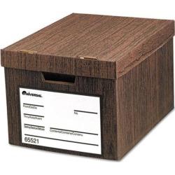 Heavy-Duty Storage Box, Letter/Legal, Fiberboard, Woodgrain, 12/Carton