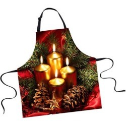 Christmas Adults Chef Apron for Kitchen Festive Cooking Baking Candle 2