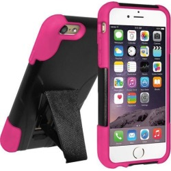 Amzer Black / Hot Pink Double Layer Hybrid Case with Kickstand for Apple iPhone 6 6S (Fit All Carriers)