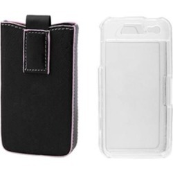 Pink Edge Black Faux Leather Pouch + Plastic Crystal Case for iPhone 4 4G
