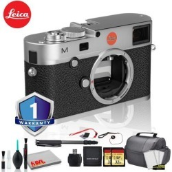 Leica M (Typ 240) Digital Rangefinder Camera (Silver) Bundle with 1 Year Extended Warranty + 2x 32GB Memory Card + LCD Screen Protectors + Monopod +