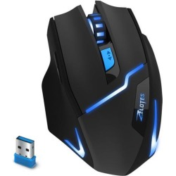 ZELOTES F-16 Professional 2.4G Wireless Optical Computer Gaming Mouse with USB Receiver, 2400DPI, 3 DPI Adjustment Levels, 6 Buttons-Black