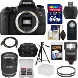 Canon EOS Rebel T6s Wi-Fi Digital SLR Camera Body with EF-S 18-200mm IS Zoom Lens + 64GB Card + Case + Filters + Tripod + Flash + Kit