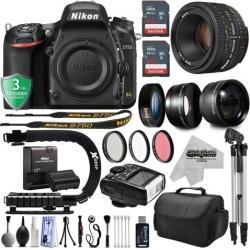 Nikon D750 24.3MP 1080P DSLR Camera w/ Wi-Fi & GPS Ready + 4 Lens - 21 to 100mm - 128GB - 30PC Kit + Nikon 50mm 1.8D + Opteka 10X Macro + 2.2X Tele +