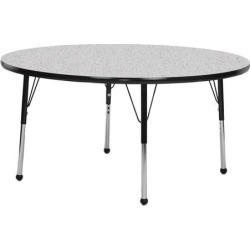 Mahar Manufacturing N48RNBK-SB Round Activity Table with Grey Nebula Top and Black Edge, 48 in.