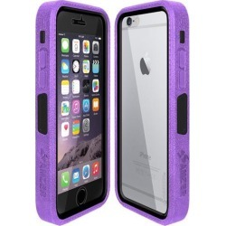 Amzer Purple on Black Embedded Tempered Glass Rugged Case With Holster for Silver/Gold Apple iPhone 6 Plus / 6S Plus