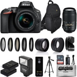 Nikon D5600 Digital SLR Camera Black with 18-55mm and 55-300mm + 25PC Accessory Bundle Kit