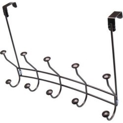 Over The Door Hook Rack Stainless Steel 16 Inch Dual Hook 5 Coat Hooks Robe Holder Hanger Organizer Coating Finish, Coffee Color