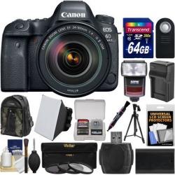 Canon EOS 6D Mark II Wi-Fi Digital SLR Camera & EF 24-105mm f/4L IS II USM Lens + 64GB Card + Backpack + Flash + Battery/Charger + Tripod + Filters.