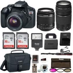 Canon Rebel T6 DSLR Camera Bundle w/18-55mm & 75-300mm Lenses