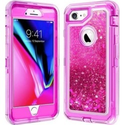 HYBRID GLITTER CASE FOR iPHONE 8 - HOT PINK