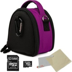 VanGoddy Purple Mini Laurel Camera Case for Digital Cameras with 16 GB SD Memory Card and Universal Screen Protector