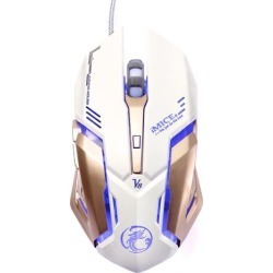 Jieyuteks V8 Professional Gaming Mice, 4000DPI/CPI 6D RGB Breathing LED Lighting, Programmable Wired Game Mouse for Pro Game Notebook, Laptop, PC.