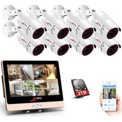 ANRAN 8 Channel PoE NVR 12' LCD Monitor 2.0Megapixel HD IP Security System, with 8pcs 1080P Onvif H.264 IP66 Weatherproof In/outdoor PoE Surveillance found on Bargain Bro India from Newegg Canada for $667.34