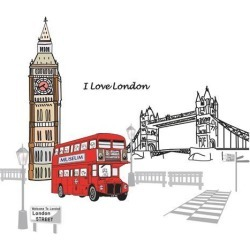 Unique Bargains Household London Street Pattern Removable Wall Sticker Decal Wallpaper found on Bargain Bro Philippines from Newegg Canada for $12.18