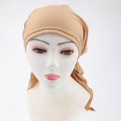 Pretied Silky Beanie Hat Scarf Chemo Cap Turban Head Wrap Night Bonnet Khaki