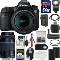 Canon EOS 6D Digital SLR Camera Body & EF 24-105mm IS STM Lens + 75-300mm III Lens + 64GB Card + Backpack + Flash + Batteries/Charger + Grip +.