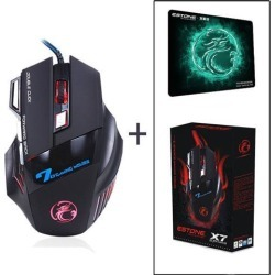 LUOM Professional Wired Gaming Mouse, X7 Gaming Mice 7 Button 5500 DPI LED Optical USB Gamer Computer Mouse Mice Cable Mouse with Gaming Mouse Pad.