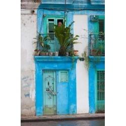 Cuba Havana Havana Vieja Blue building Poster Print by Walter Bibikow (25 x 37)