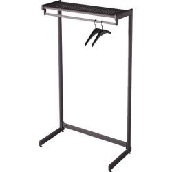 Quartet 20214 48' Wide Single-Side Garment Rack w/Shelf, Powder Coated Textured Steel, Black