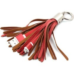 Mobile Phone Tassel Keychain USB 2.0 A Male to Micro B Charger Data Cable Red