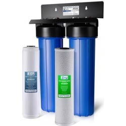 iSpring #WGB22B-PB Lead Iron Chloride Reducing 2-Stage 80,000 Gal. Big Blue Whole House Water Filter