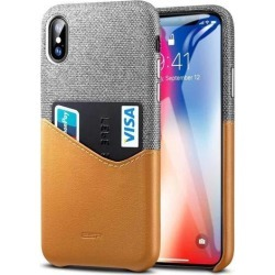 ESR iPhone Xs Case, iPhone X Case, iPhone Xs/X Wallet Case, Soft Fabric + Premium PU Leather Case with ID & Card Holder Slot for Apple iPhone.