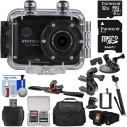 Vivitar DVR786HD 1080p HD Waterproof Action Video Camera Camcorder (Black) with Remote, Helmet, Bike, Suction Cup & Dashboard Mounts + 32GB Card +