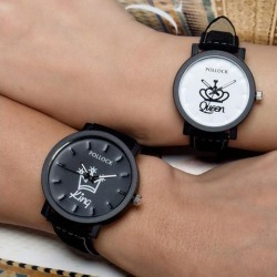 Queen/King Stylish Lovers Quartz Watch Stylish Wristwatch Ornament Gift QUEEN white dial coffee band