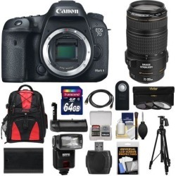 Canon EOS 7D Mark II GPS Digital SLR Camera Body with 70-300 f/4-5.6 IS Lens + 64GB Card + Backpack + Battery + Tripod + Grip + Flash + Kit