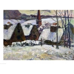 Posterazzi BALXIR74586LARGE Breton Village Under Snow 1894 Poster Print by Paul Gauguin - 36 x 24 in. - Large