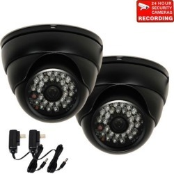 """VideoSecu 2 Pack Outdoor Indoor Weatherproof Vandal Proof 480TVL IR Day Night Vision Built-in 1/3"""" Sony CCD Security Camera 3.6mm Wide Angle with 2"""