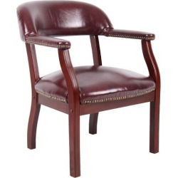 Boss Office Supplies B9540-BY Ivy League Executive Captain's Chair in Vinyl, Burgundy